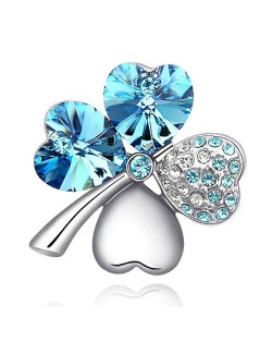 Austrian Crystal and Czech Stones Four Leaf Clover Brooch - Aqua Blue