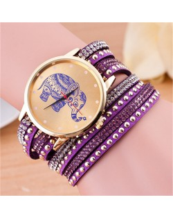 Folk Style Elephant with Multi-layers Beads and Studs Decorated Leather Women Fashion Bracelet Watch - Purple
