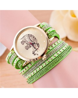 Folk Style Elephant with Multi-layers Beads and Studs Decorated Leather Women Fashion Bracelet Watch - Green