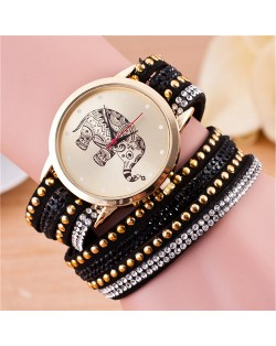 Folk Style Elephant with Multi-layers Beads and Studs Decorated Leather Women Fashion Bracelet Watch - Black