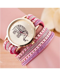 Folk Style Elephant with Multi-layers Beads and Studs Decorated Leather Women Fashion Bracelet Watch - Pink
