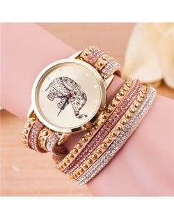 Folk Style Elephant with Multi-layers Beads and Studs Decorated Leather Women Fashion Bracelet Watch - Khaki