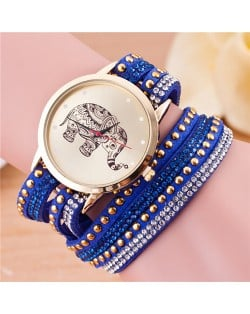 Folk Style Elephant with Multi-layers Beads and Studs Decorated Leather Women Fashion Bracelet Watch - Royal Blue