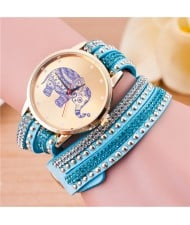 Folk Style Elephant with Multi-layers Beads and Studs Decorated Leather Women Fashion Bracelet Watch - Light Blue