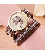 Folk Style Elephant with Multi-layers Beads and Studs Decorated Leather Women Fashion Bracelet Watch - Coffee