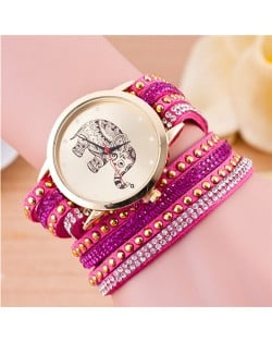 Folk Style Elephant with Multi-layers Beads and Studs Decorated Leather Women Fashion Bracelet Watch - Rose