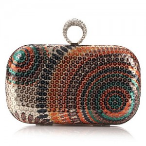 Peacock Feather Inspired Glistening Sequins Women Fashion Evening Handbag - Colorful Golden