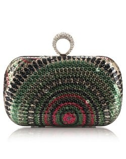 Peacock Feather Inspired Glistening Sequins Women Fashion Evening Handbag - Colorful Green