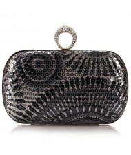 Peacock Feather Inspired Glistening Sequins Women Fashion Evening Handbag - Gray