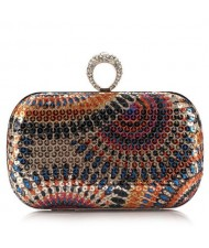 Peacock Feather Inspired Glistening Sequins Women Fashion Evening Handbag - Colorful Rose