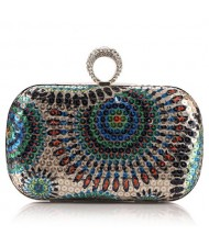 Peacock Feather Inspired Glistening Sequins Women Fashion Evening Handbag - Colorful Blue