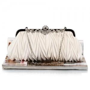 Luxurious Folding Cloth Design Evening/ Wedding Party Handbag - White