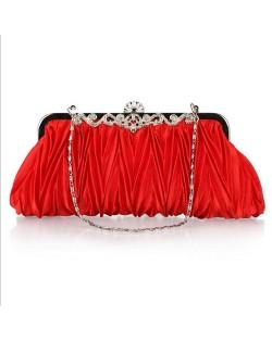 Luxurious Folding Cloth Design Evening/ Wedding Party Handbag - Red