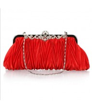 Luxurious Folding Cloth Design Evening/ Wedding Party Handbag - Red