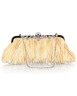 Luxurious Folding Cloth Design Evening/ Wedding Party Handbag - Golden