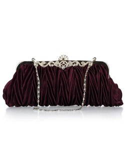 Luxurious Folding Cloth Design Evening/ Wedding Party Handbag - Purple