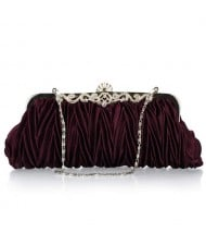 Luxurious Folding Cloth Design Evening/ Wedding Party Handbag - Purple