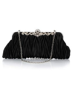 Luxurious Folding Cloth Design Evening/ Wedding Party Handbag - Black