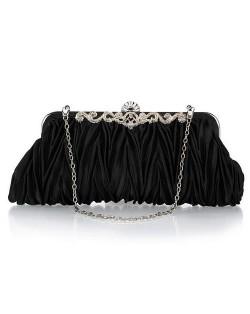 Luxurious Folding Cloth Design Evening/ Wedding Party Handbag - Black