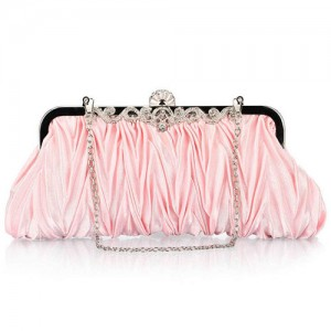 Luxurious Folding Cloth Design Evening/ Wedding Party Handbag - Pink