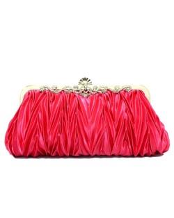 Luxurious Folding Cloth Design Evening/ Wedding Party Handbag - Rose