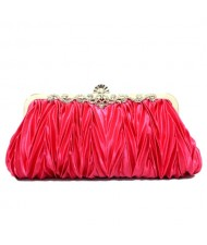 Luxurious Folding Cloth Design Evening/ Wedding Party Handbag - Rose