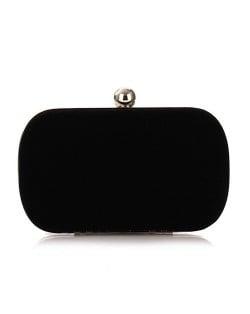 Silver Ball Decoration Design Flannelette Evening Handbag - Black