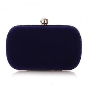 Silver Ball Decoration Design Flannelette Evening Handbag - Royal Blue
