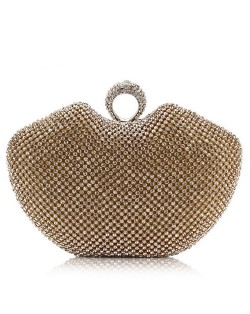 Luxurious Ring Decorated Rhinestone Allover Women Fashion Evening Handbag - Golden