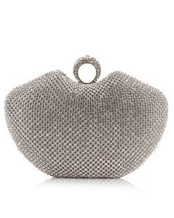 Luxurious Ring Decorated Rhinestone Allover Women Fashion Evening Handbag - Silver