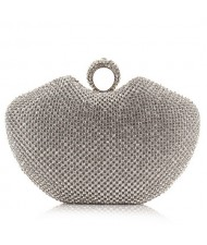 Luxurious Ring Decorated Rhinestone Allover Women Fashion Evening Handbag - Silver