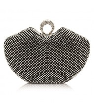 Luxurious Ring Decorated Rhinestone Allover Women Fashion Evening Handbag - Black