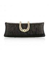 Bark Texture with Rhinestone Inlaid Handle Design Fashion Evening Handbag - Black