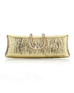 Bark Texture with Rhinestone Inlaid Handle Design Fashion Evening Handbag - Golden