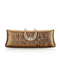 Bark Texture with Rhinestone Inlaid Handle Design Fashion Evening Handbag - Coffee
