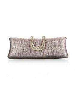 Bark Texture with Rhinestone Inlaid Handle Design Fashion Evening Handbag - Gray