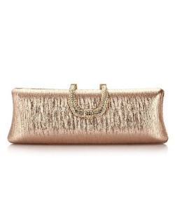 Bark Texture with Rhinestone Inlaid Handle Design Fashion Evening Handbag - Champagne