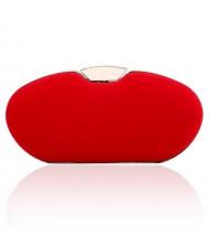 Graceful Rhinestone Embellished Lock Flannelette Evening Handbag/ Shoulder Bag - Red