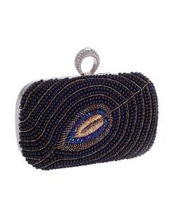 Pearls Combined Leaf Design with Rhinestone Inlaid Decoration Fashion Handbag/ Shoulder Bag - Black