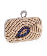 Pearls Combined Leaf Design with Rhinestone Inlaid Decoration Fashion Handbag/ Shoulder Bag - Champagne