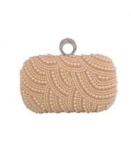 Korean Fashion Pearls Allover with Rhinestone Inlaid Ring Design Evening Handbag - Champagne