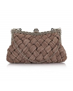 Weaving Threads Pattern with Rhinestone Floral Decorations Fashion Evening Handbag/ Shoulder Bag - Mine Gray