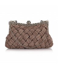 Weaving Threads Pattern with Rhinestone Floral Decorations Fashion Evening Handbag/ Shoulder Bag - Mine Gray