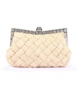 Weaving Threads Pattern with Rhinestone Floral Decorations Fashion Evening Handbag/ Shoulder Bag - Ivory