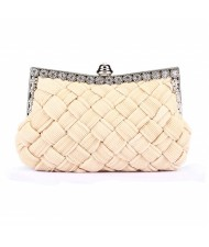 Weaving Threads Pattern with Rhinestone Floral Decorations Fashion Evening Handbag/ Shoulder Bag - Ivory
