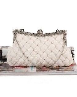 Weaving Threads Pattern with Rhinestone Floral Decorations Fashion Evening Handbag/ Shoulder Bag - White