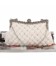 Weaving Threads Pattern with Rhinestone Floral Decorations Fashion Evening Handbag/ Shoulder Bag - White