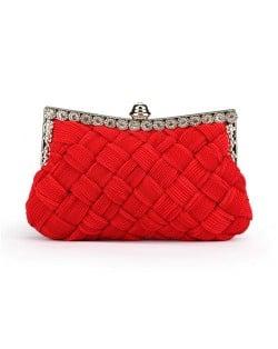Weaving Threads Pattern with Rhinestone Floral Decorations Fashion Evening Handbag/ Shoulder Bag - Red