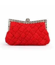 Weaving Threads Pattern with Rhinestone Floral Decorations Fashion Evening Handbag/ Shoulder Bag - Red