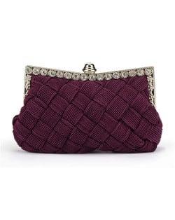 Weaving Threads Pattern with Rhinestone Floral Decorations Fashion Evening Handbag/ Shoulder Bag - Purple